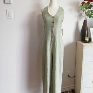 Bepop linen blend Overall Jumpsuit green